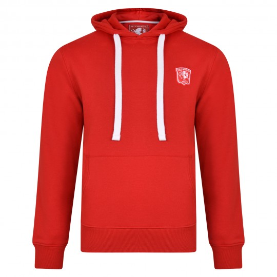 FC Twente Adult Red Overhead Hooded Sweat