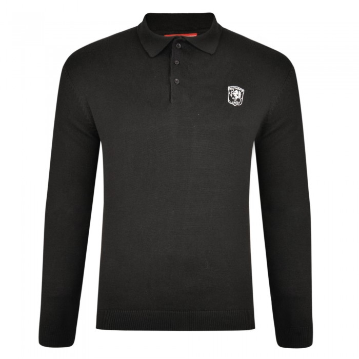 FC Twente Black Knitted Long Sleeve Polo - Adult